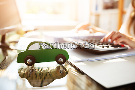 close up of green wooden car