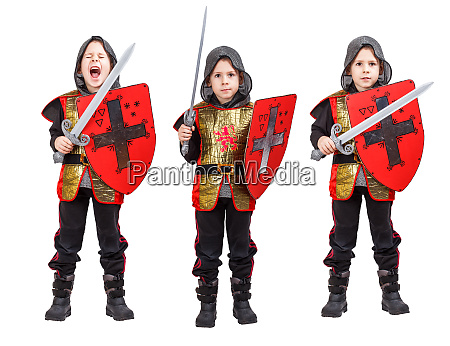 boy in medieval knight costume