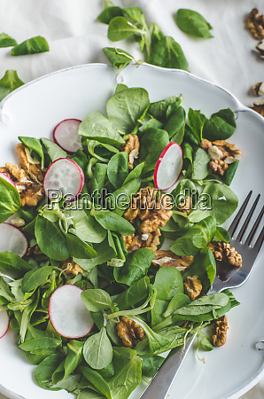 lambs lettuce salad with walnuts and