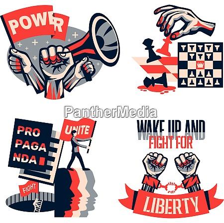revolution political slogans concept 4 vintage