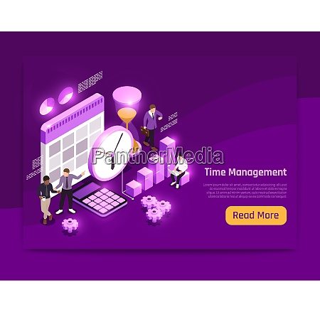 business isometric page design with time