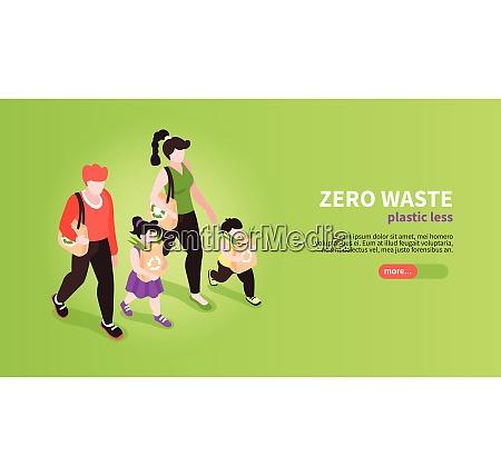 isometric zero waste banner background with