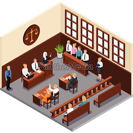 law justice court trial isometric composition