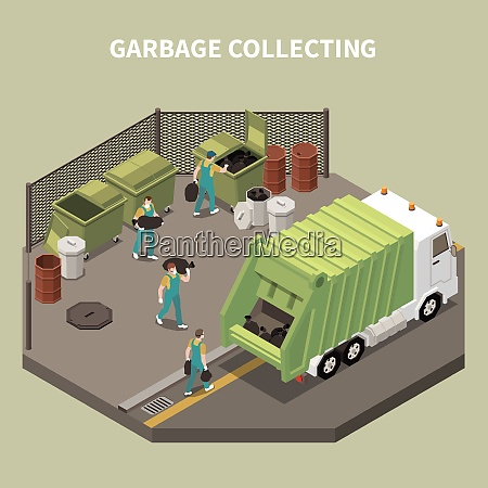 colored and isometric garbage recycling composition