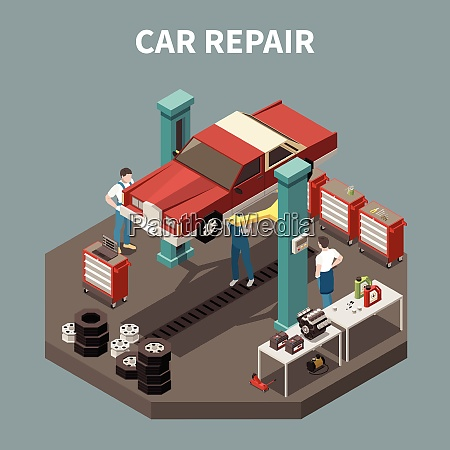 isometric and isolated car service concept