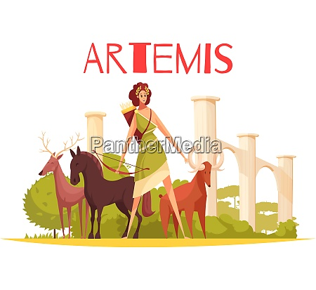 greek goddess flat composition with cartoon