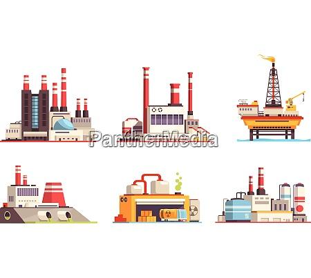 industrial buildings flat set of petroleum