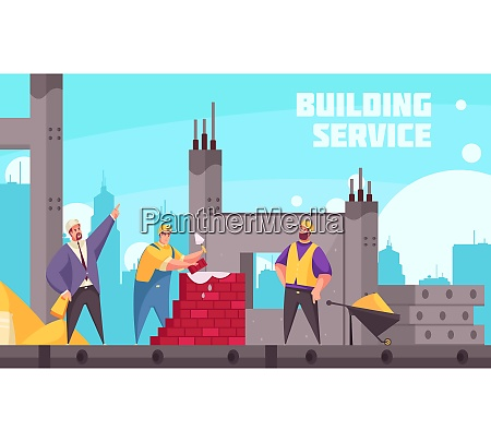 building service flat poster with industrial