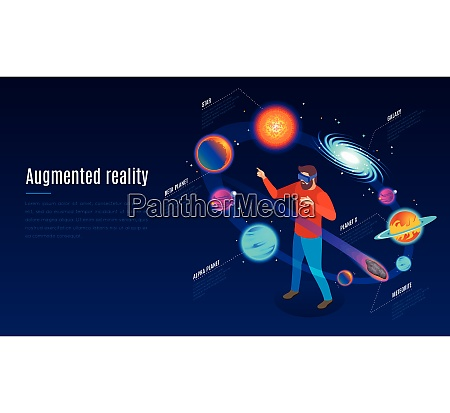 astrophysics augmented reality application isometric composition