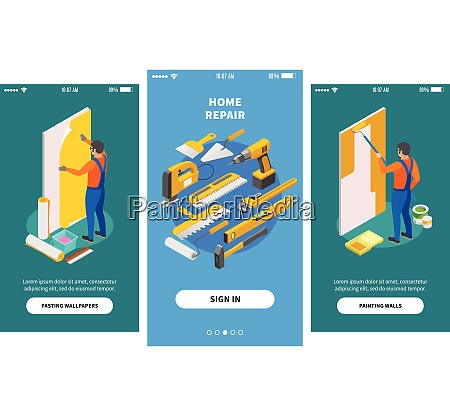 home repair isometric banners for mobile
