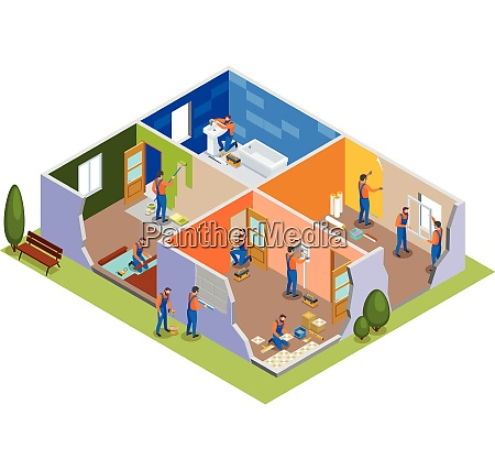 home repair isometric composition with workers