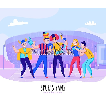 fans cheering team composition with group