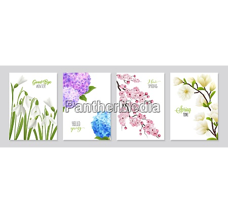realistic snowdrop flower banners set featuring