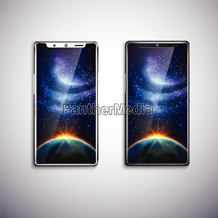two modern all screen smartphones with