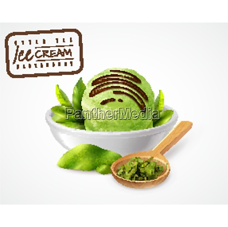 realistic green tea ice cream with