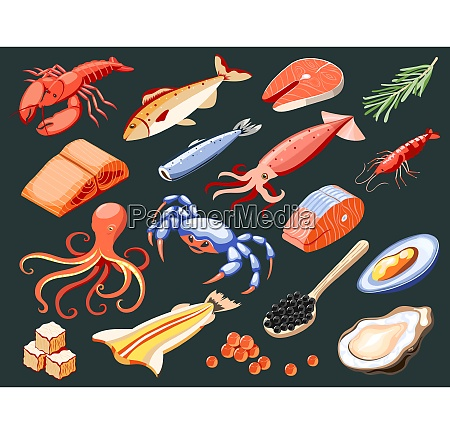 sea food isolated colored icons with