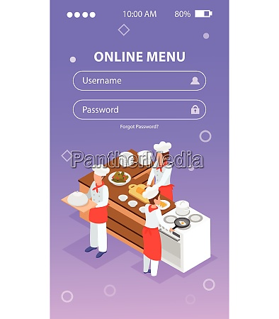 isometric login form background with people