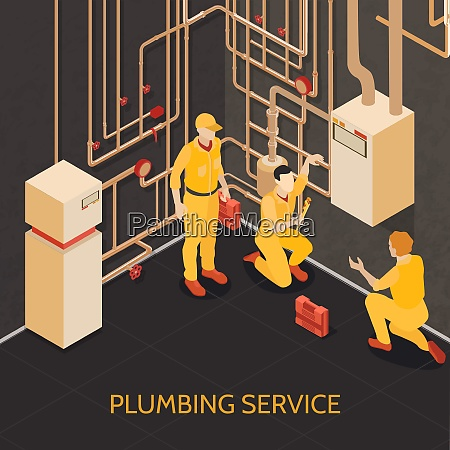 plumbing service team at work isometric