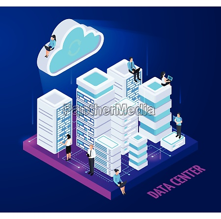 cloud services isometric conceptual composition with