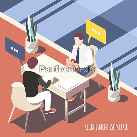 recruiting interview isometric background with