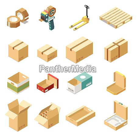 isometric set with cardboard boxes for