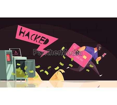 colored and flat hacker runs away