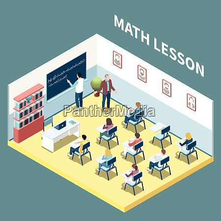 university students on maths lesson isometric