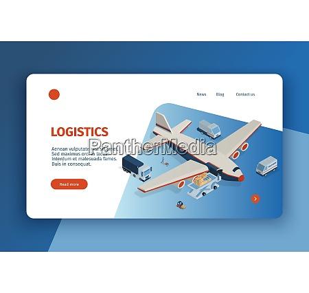 isometric logistics concept banner web site