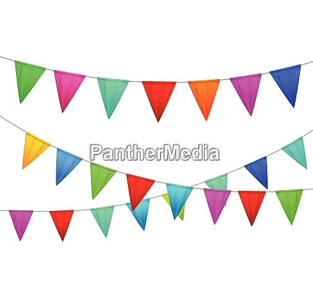 decorative colorful party slingers pennants red