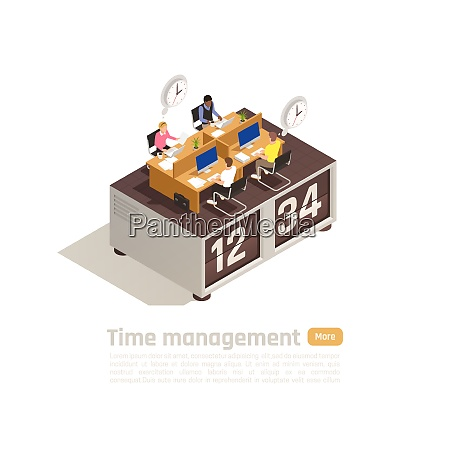 time management isometric business concept for