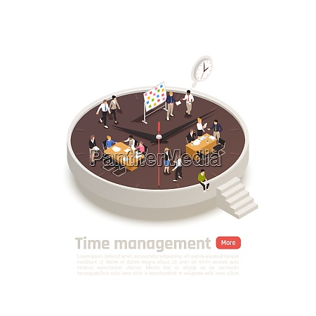 time management isometric round concept for