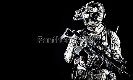 soldier in night vision device on