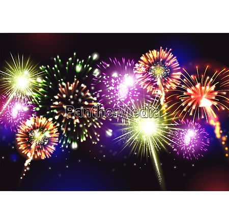 fireworks realistic background with party celebration