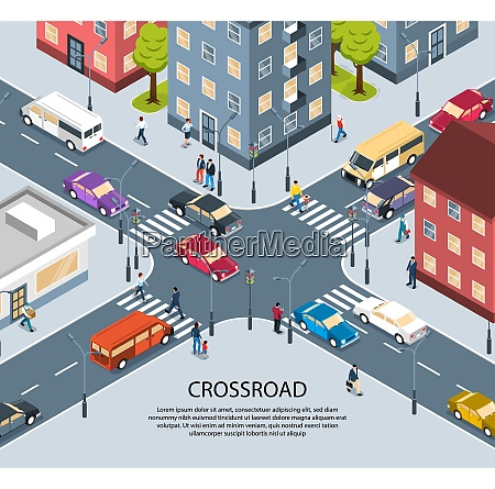 city town four way intersection crossroad