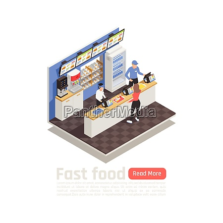 fast food restaurant isometric composition with