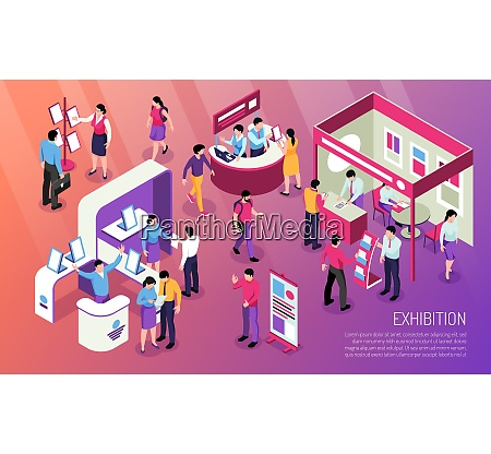 exhibition horizontal illustration with visitors