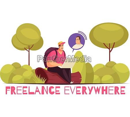 freelancers working everywhere flat funny cartoon
