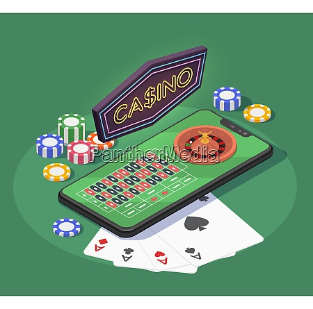 online casino isometric composition with smartphone