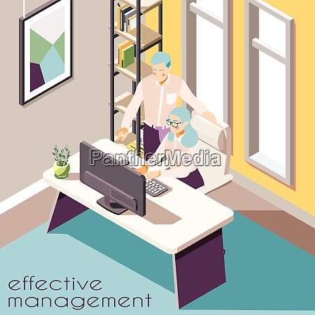 effective management isometric background with indoor