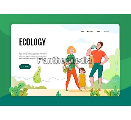 zero waste concept flat banner web