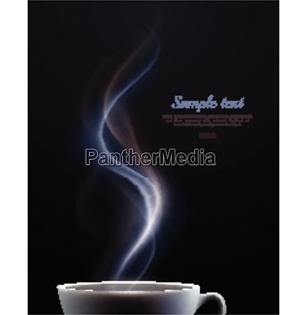 advertising poster with white ceramic steaming
