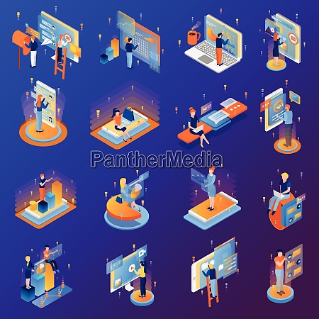 people and interface isometric icons set