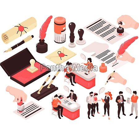 isometric notary services set of isolated