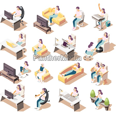 set of isolated sedentary lifestyle isometric