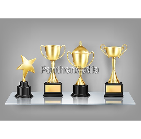trophy awards realistic images on shelf