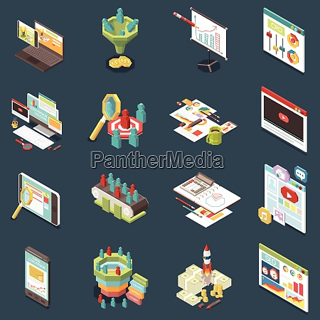 isometric set of colorful conversion rate