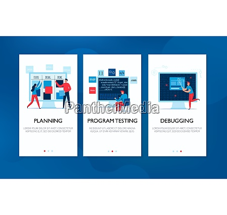vertical banners set with programmers planning