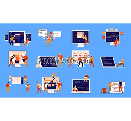 flat set of colorful icons with