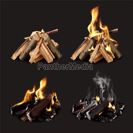 campfire phases realistic set of four