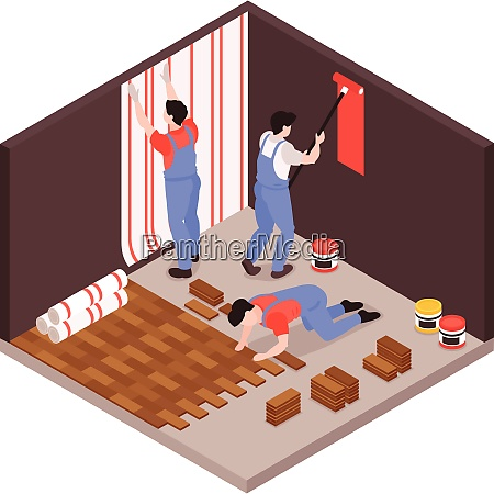 home remodeling repair service isometric composition